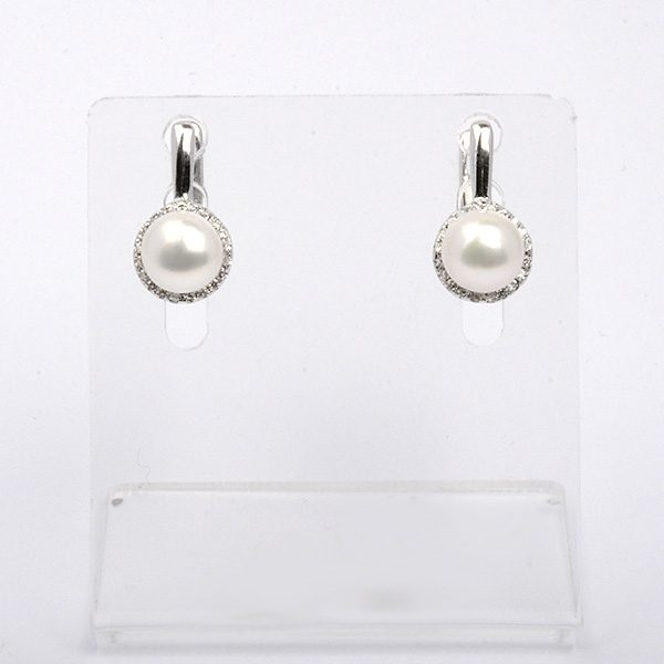Silver earrings with natural white pearls Velia