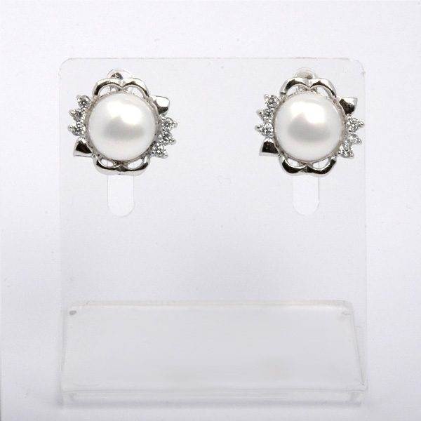 Silver earrings with natural white pearls Miah