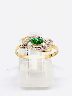 Rose gold ring Green Oval