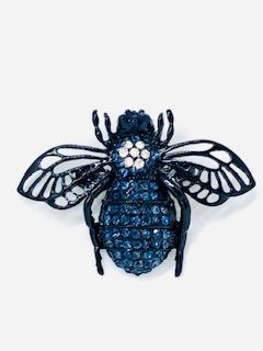Fashion Brooch Blue Bee with Swarovski