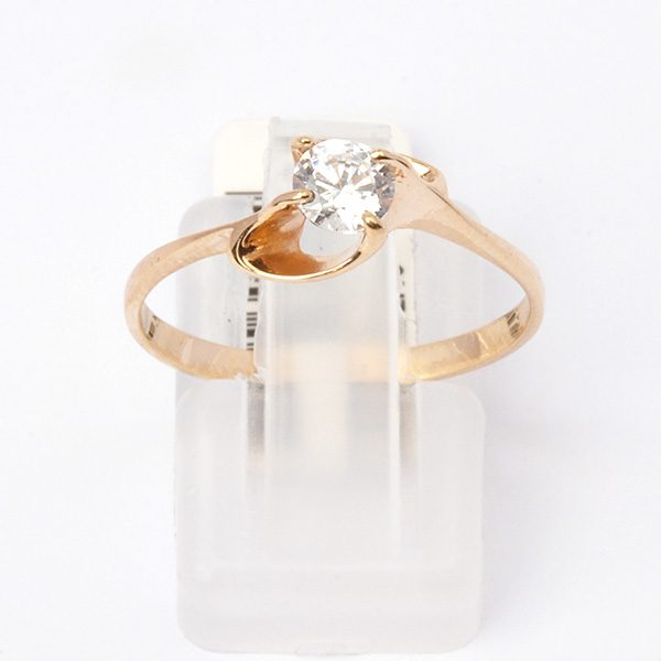 Gold ring with cubic zirconia Alfreda